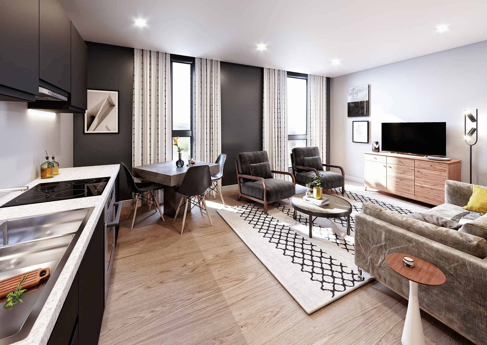 Coates House Bristol UK Interior: Commercial to Residential Property Conversion Apartment
