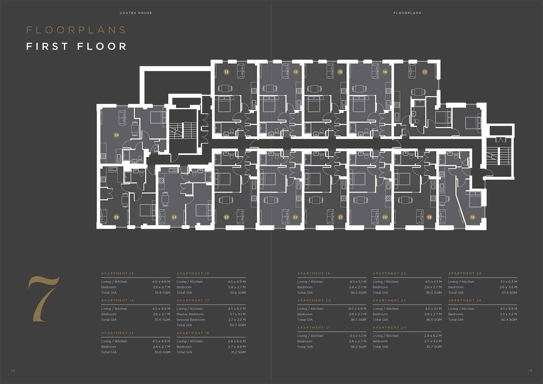Coates House Bristol UK: Ocea First Floorplan: Commercial to Residential Property Conversion Apartment