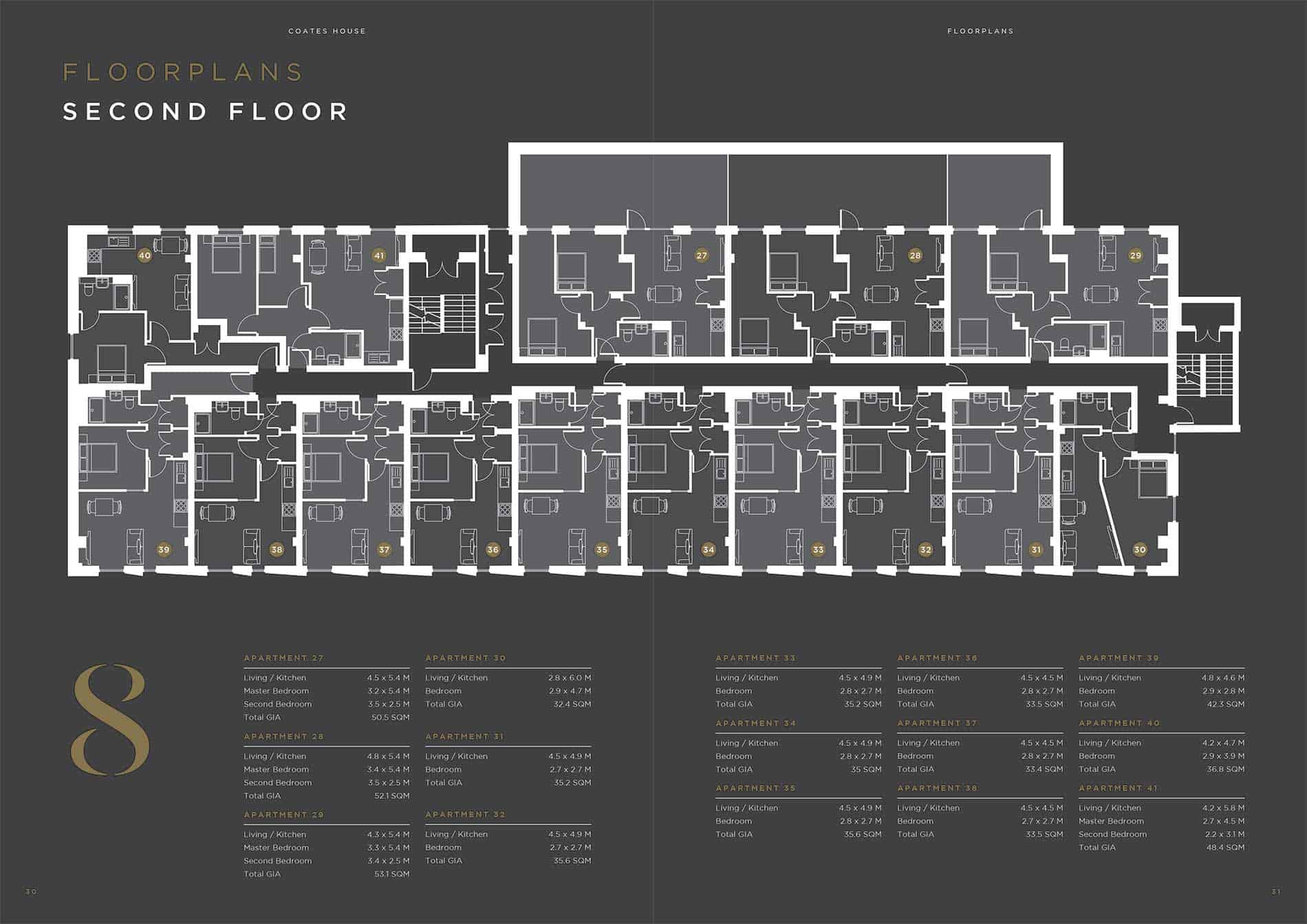 Coates House Bristol UK: Ocea Second Floorplan Commercial to Residential Property Conversion Apartment