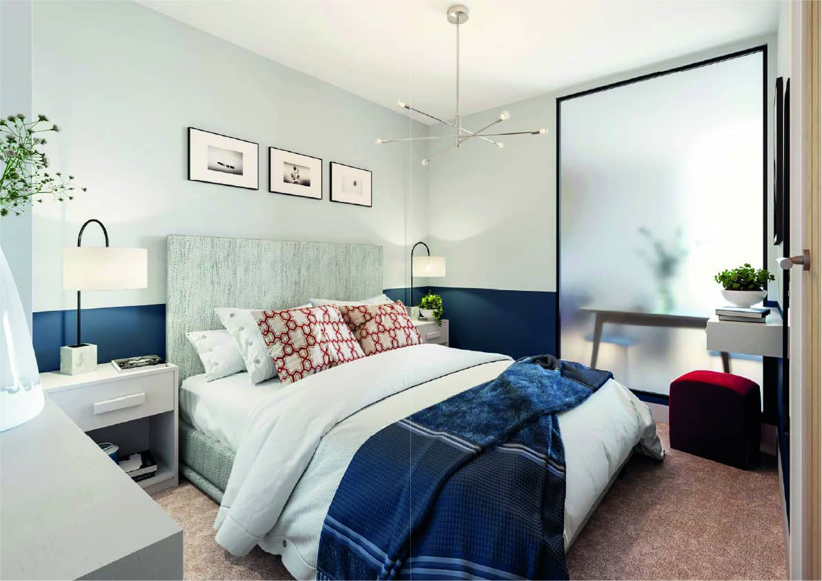 Furness House Bedroom Interior Redhill: Commercial to Residential Property Conversion Apartment